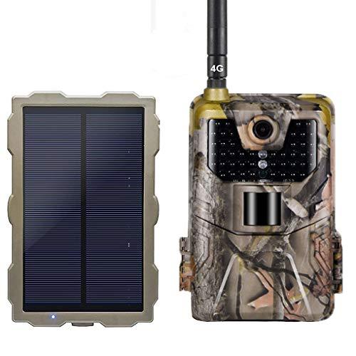 YTLJJ 4G Fotocamera da Caccia 1080P 16MP Fototrappola Infrarossi Invisibili Fotografica 4G gsm MMS, 940nm IR LEDs Visione Notturna 65ft/20m, Schermo da 2,0 Pollici, con Set di Pannelli Solari