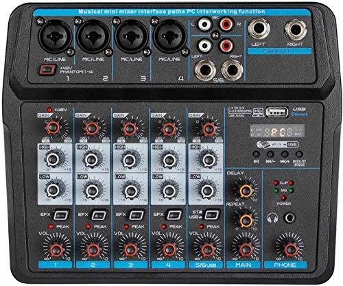 Depusheng U6 Console di missaggio audio Registrazione USB Bluetooth Riproduzione computer 48 V Ritardo alimentazione Phantom Effetto ripetizione 6 canali Mixer audio USB per registrazione PC, bande