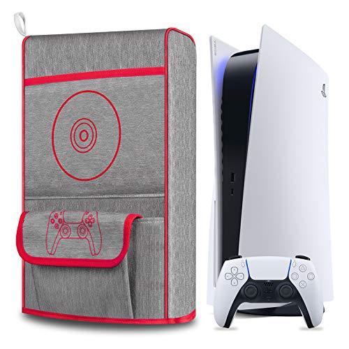 Copertura Antipolvere per PS5,Cover Protettiva per Sony Playstation 5,Anti Graffio Impermeabile,Supporto per PS5, Controller e 12 Dischi di Gioco (Rosso)