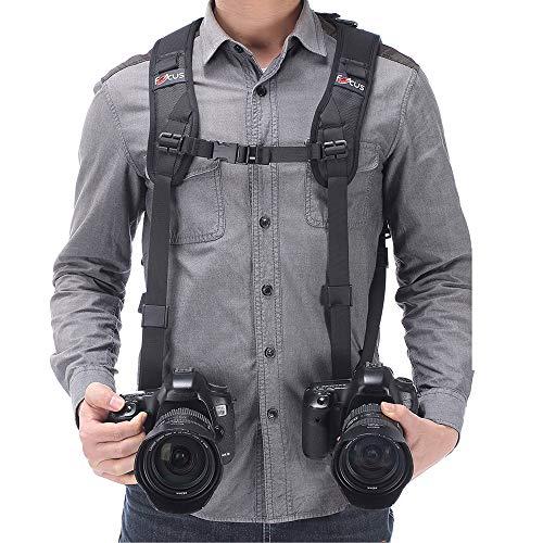 Tracolla doppia fotocamera imbracatura doppia fotocamera cinghia da polso e di sicurezza cinghia regolabile a rilascio rapido per DSLR SLR (FCOUS)