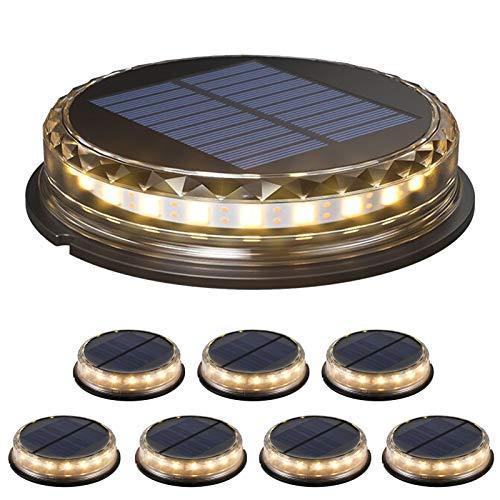 Decdeal Luce Solare da Giardino 8Pcs 17 LED, Lampade Solare a Terra Impermeabile IP65,Luci Solari da Terra Incasso per Esterni,Funzione di Rilevamento Automatico,con 1200mAh Batteria,Bianco Caldo