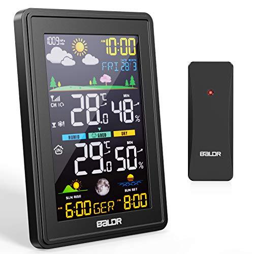 BALDR Stazione Meteo,Stazione Meteorologica Meteo Automatica Digitale Wireless con Ampio Schermo LCD Display,Previsioni Meteo Termometro Temperatura Interno Esterno,Sveglia Tempo Data Temperatura