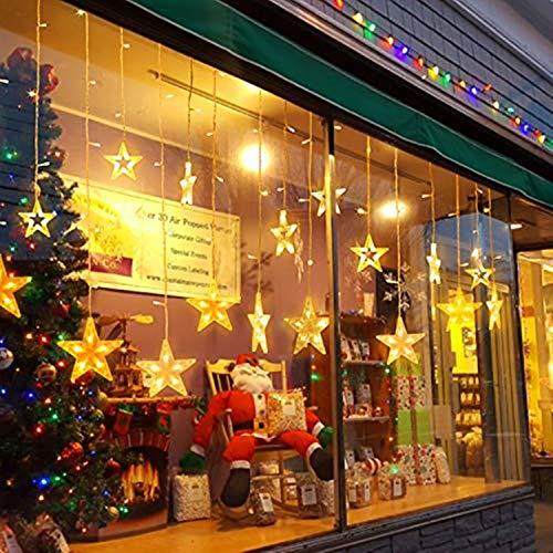 Tenda Luminosa, luci Stringa di Natale Telecomando del Led 2 * 1 metro 12 stelle (φ10/15cm) 31v illuminano tenda per Feste, Luci Decorazione Natale per Feste, Finestra, Casa, Cortile