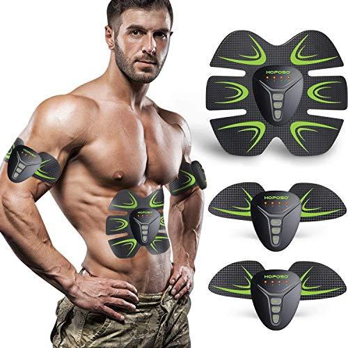 Elettrostimolatore per Addominali, HOPOSO Elettrostimolatore Muscolare Professionale, Stimolatore Muscolare 2 in 1 Massager EMS Addominali Trainer