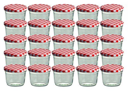 CapCro Set da 25 vasetti in Vetro, per marmellate e Conserve, 230 ml, Coperchio avvitabile a Quadretti Rossi, 82 mm