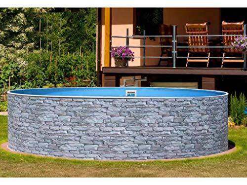 Mountfield AZURO Vario Stone V1 - Piscina da parete in acciaio, Ø 360 x 90 cm, pellicola interna, senza impianto di filtraggio