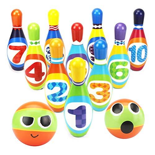 Dreamon Set da Bowling con 2 Palle e 10 Birilli Giocattoli Gioco di Sport per Bambini 3 Anni in su