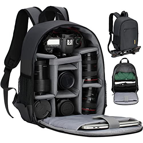 TARION TBS Zaino fotografico Zaino fotografico SLR piccolo Zaino per fotocamera impermeabile Borsa per fotocamera leggera e compatta con copertura antipioggia (nero)