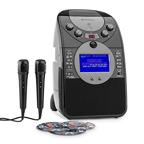 Auna ScreenStar - Karaoke , Kit Karaoke , Display TFT da 3,5 Pollici , 2 microfoni dinamici , Altoparlante , Uscita Video , capacitá MP3 , Porta USB , Funzione AVC , Nero