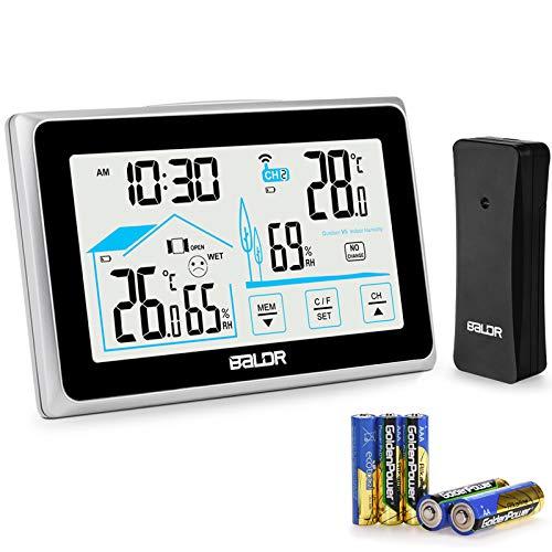 BACKTURE Stazione Meteo, Stazione Meteorologica Wireless con Sensore Esterno e 5 AAA Batterie, Termometro Igrometro Digitale con LCD Display per Misura Interno Esterno Temperatura e Umidita