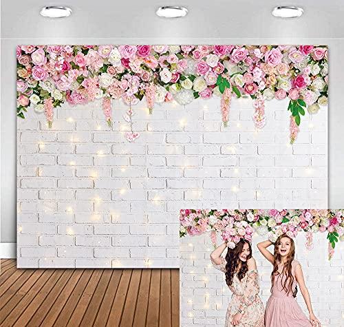 BINQOO 2,1 x 1,5 m a tema primavera fondale fotografico glitter bianco muro di mattoni fiori sfondo per San Valentino festa della mamma matrimonio nuziale baby shower festa di compleanno