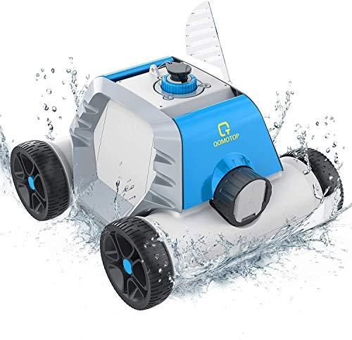OT QOMOTOP Robot Pulitore per Piscina, Solo Fondo, Ricaricabile, Tempo di Lavoro : 60-90 Minuti, Impermeabile IPX8, Intelligent Si Ferma a Riva, Tecnologia del sensore d'Acqua Integrato