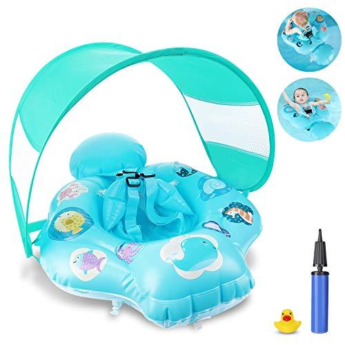 Magicfun Salvagente Neonato, Ciambella Gonfiabile Piscina Mare con Parasole e Sedile Sicuro, Anello di Nuoto Baby Float per Bambini da 6 a 18 Mesi