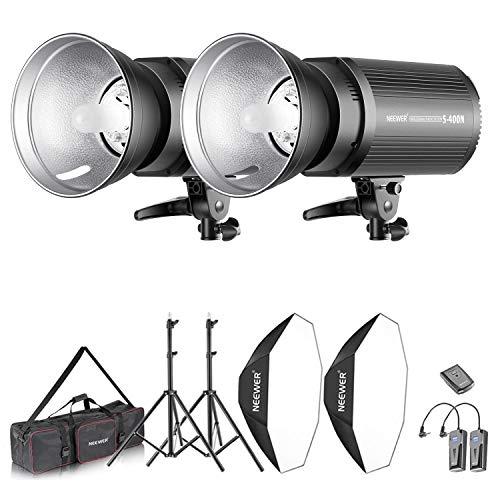 Neewer Kit d'Illuminazione 800W Strobo Flash & Softbox: (2) 400W Flash Monoluce (S-400N) (2) Riflettore con Attacco Bowens (2) Cavalletto (2) Softbox (2) Lampadina (1) RT-16 Trigger (1) Borsa