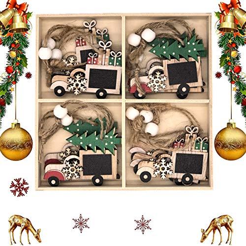 QIMMU 12 Pezzi Addobbi per Albero di Natale Legno,Albero di Natale in Legno Pendenti Natalizie in Legno Natale Ciondolo in Legno Ciondolo Albero di Natale con Corde (2)