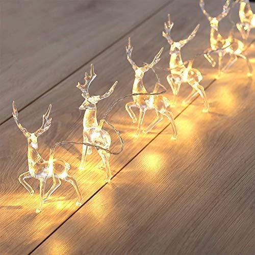 Luci natalizie, Luci a fata a forma di renna a led bianco caldo a batteria Decor natalizie, luci a corde di renne natalizie 10 luci a stringa a LED Arredamento camera da letto Luce fata da interni