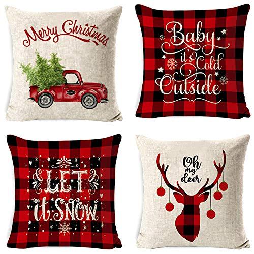 Wanxida 4 Pezzi Natale Fodere per Cuscini, 18 x 18 Pollici Natale Cuscini Decorativi per la casa per Fodere per Cuscini Decorativi Divano Cuscino Natalizio Fodere