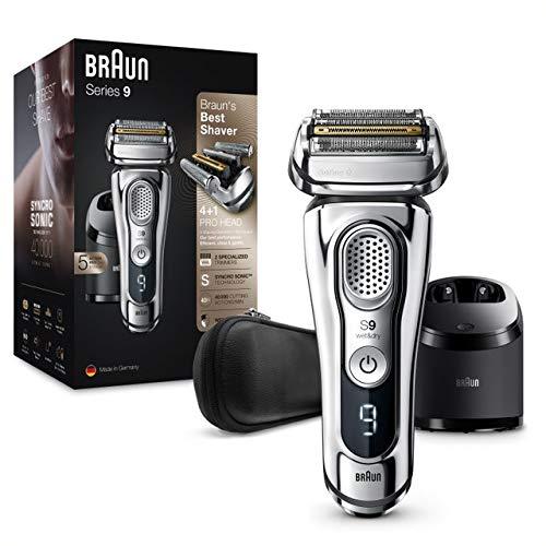 Braun Series 9 9395cc Rasoio Elettrico Barba Ricaricabile Senza Fili, Stazione Clean&Charge E Custodia Viaggio, Wet&Dry, Batteria Li-Ion, 100% Impermeabile