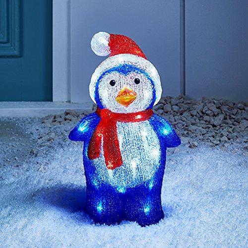 Lights4fun – Decorazione Natalizia Luminosa a Pinguino con LED Bianchi per Interni ed Esterni