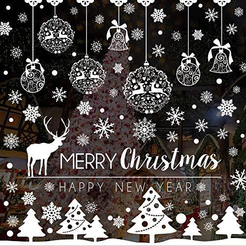 Caiery 185 PZ Vetrofanie Renna Fiocchi di Neve per Natale, Fiocco di Neve Stickers da Vetro Finestra Vetrina Natale Decorazione,- Fantastiche Adesivi Statici in PVC