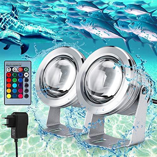 Luce per Piscina RGB Dimmerabile IP68 Impermeabile, 2 pezzi Faretto a LED subacqueo con Cavo da 2 metri, Telecomandi, 10W 12V, LEDSommergibili Luci Subacquee per Fontana, Stagno, Piscina