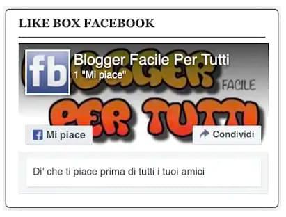 Come inserire like box Facebook in Blogger