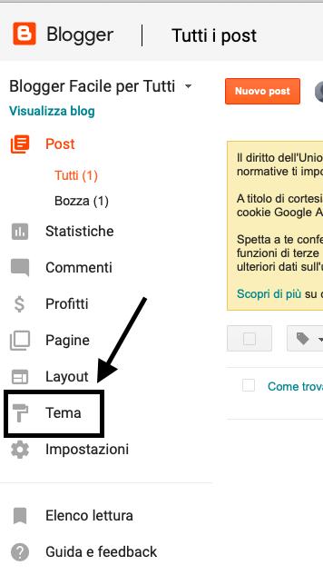 come trovare un rigo di codice nell'html di blogger