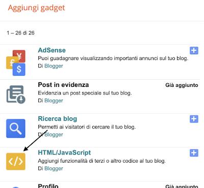 Come inserire un codice HTML/JavaScript in Blogger