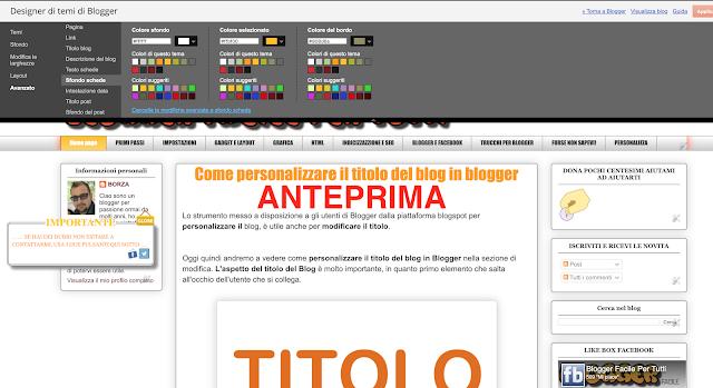 modificare personalizzare gadget blogger titolo sfondo link testo