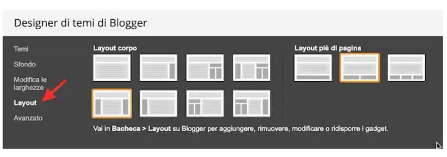 Come scegliere o cambiare Layout in Blogger