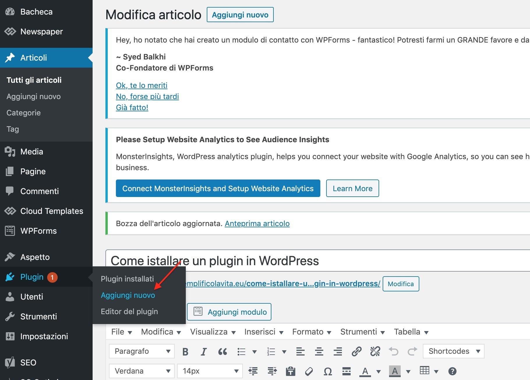 bacheca WordPress inserire per plugin
