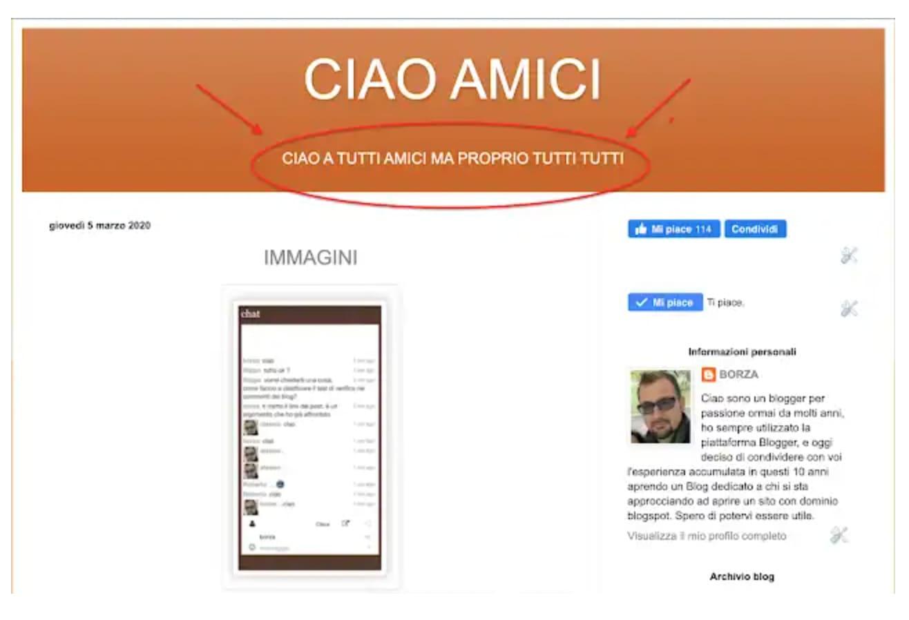 Come personalizzare l'intestazione del blog in Blogger