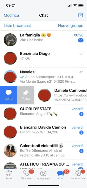 Come fissare in alto una chat su Whatsapp