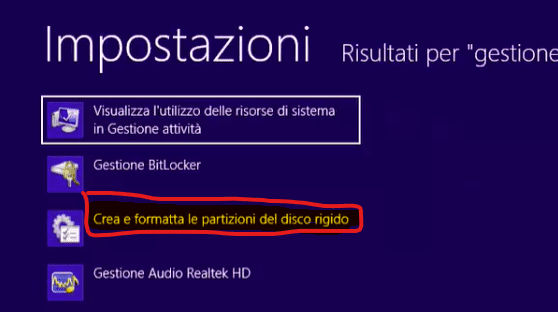 partizioni hd windows 8