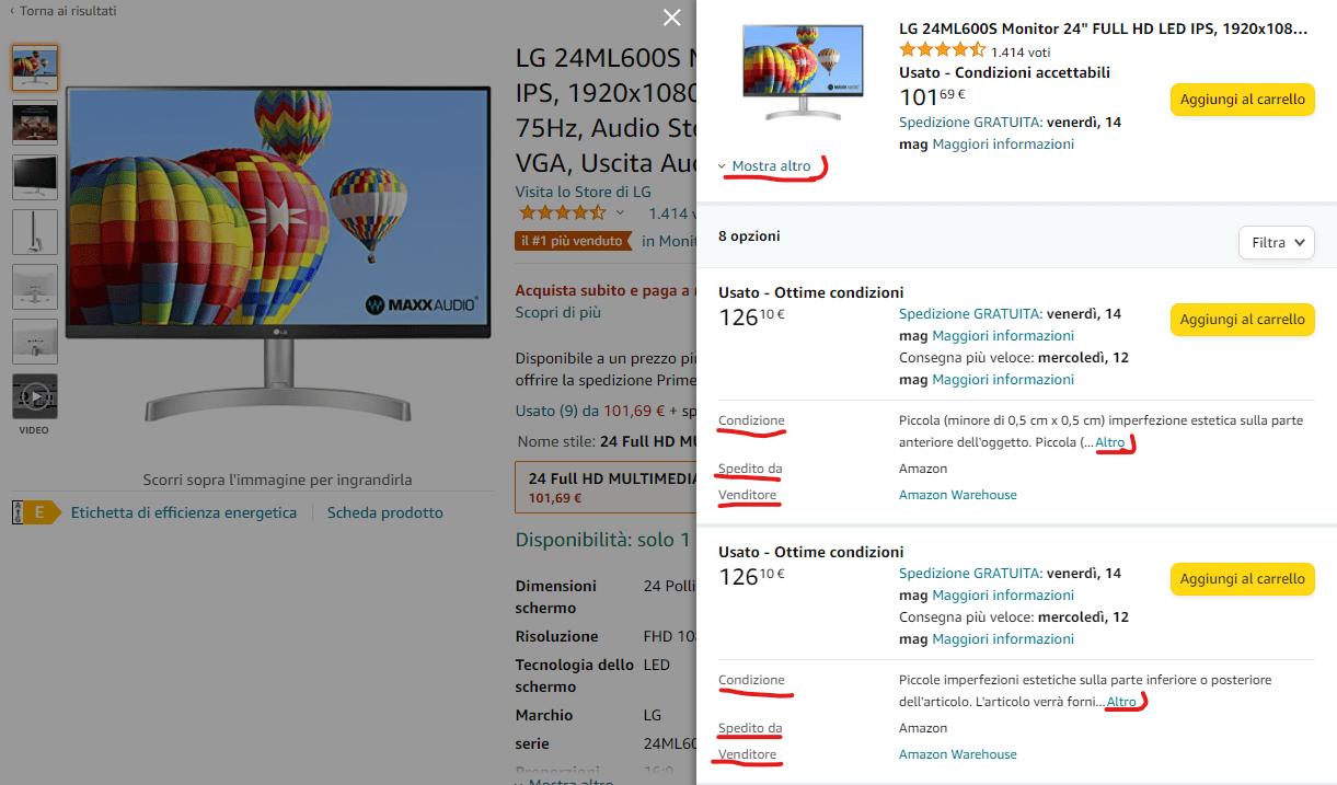 Amazon usato come nuovo