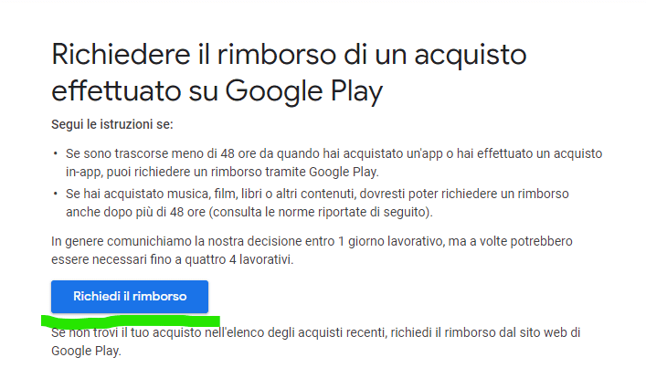 richiesta rimborso Google Play